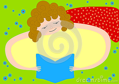 Invitation Card with Girl Reading a book