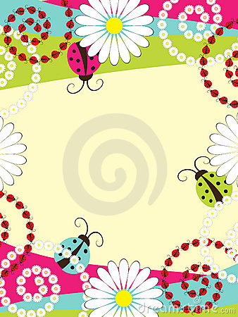 Invitation card with ladybirds
