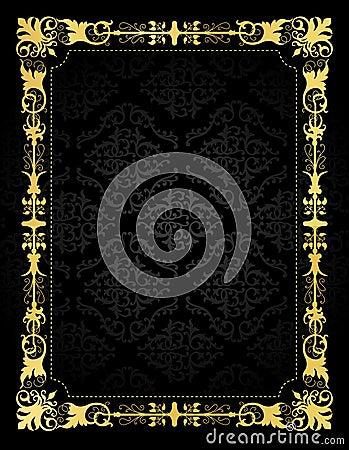 Invitation card ornamental frame and damask backgr