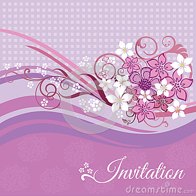 Invitation card with pink and white flowers