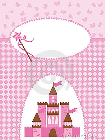 Invitation card with princess castle and wand.