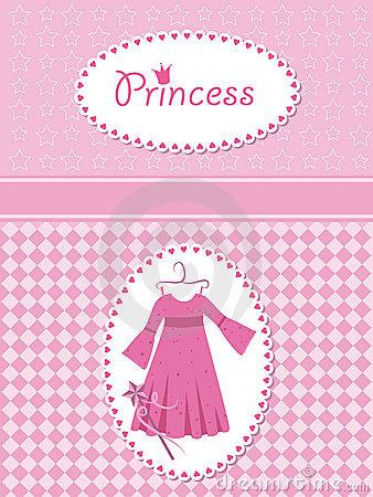 Invitation card with princess dress and wand.