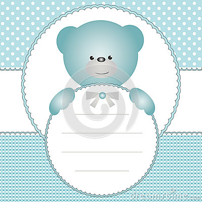 Invitation card with teddy bear