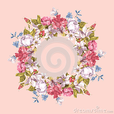 Free Invitation Card With Floral Wreath. Stock Photography - 51987692