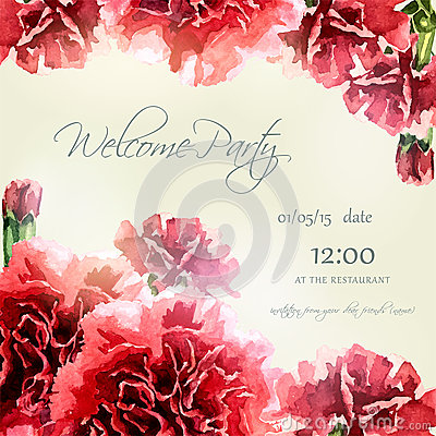 Free Invitation Card With Watercolor Carnation Frame Royalty Free Stock Images - 50962969