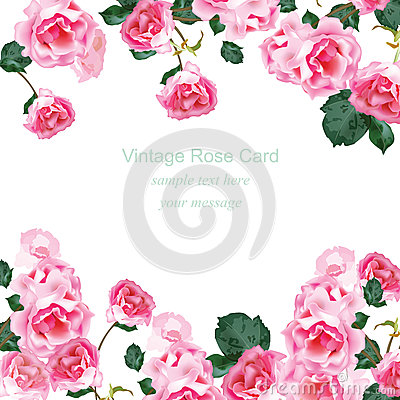 Free Invitation Card With Watercolor Vintage Roses Bouquet Vector. Floral Pink Decor For Greetings, Wedding, Birthday And Royalty Free Stock Image - 86657666