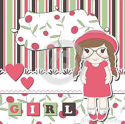 Invitation or greeting scrapbook card for girl