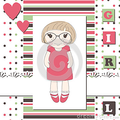 Invitation or greeting scrapbook card rof girl