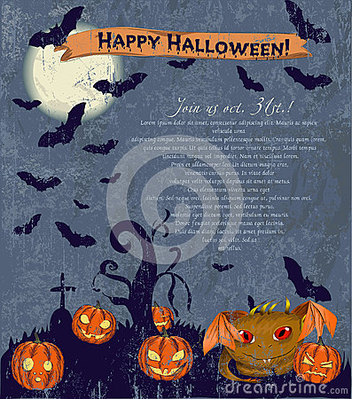 Invitation Halloween poster with cute monster.