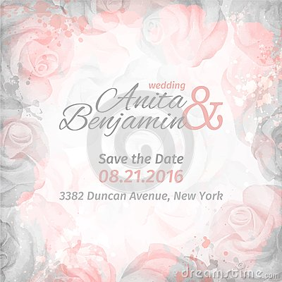 Free Invitation To The Wedding. Abstract Romantic Rose Background In Pink And Gray Colors. Vector Template Stock Photography - 50654232