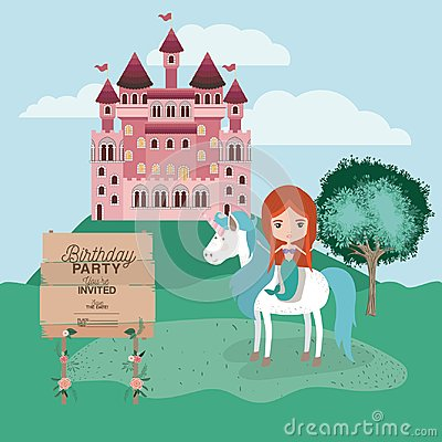 Free Invited Birthday Party Card With Unicorn And Mermaid Royalty Free Stock Photography - 116257737