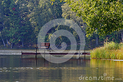 Inviting Park Bench on Pier Over Rustic Lake