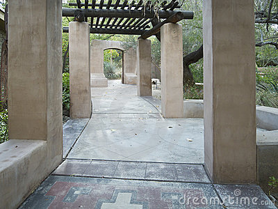 Inviting walkway through a desert garden