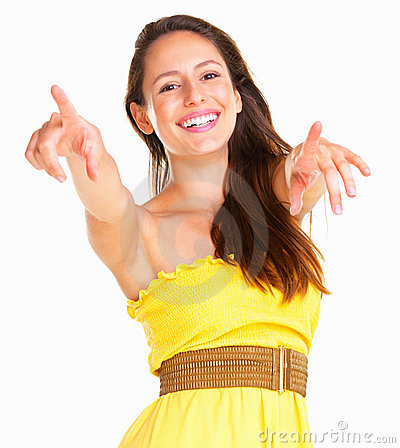 Inviting woman pointing at you