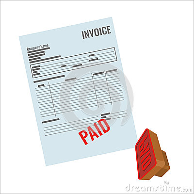 Invoice vector bill with red paid stamp close-up realistic illustration. Vector Illustration