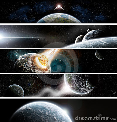 Inzameling van 5 banners voor website: Apocalyps s