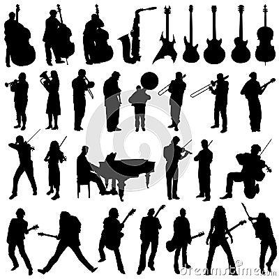 Inzameling van musicus en muziekobjecten vector