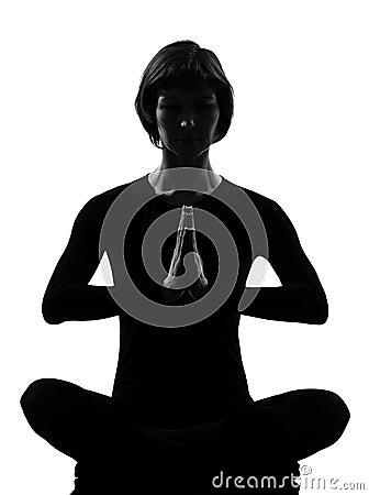 Ioga da meditação do pose do sukhasana da mulher