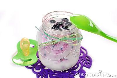 Iogurte caseiro com o mirtilo para o bebê