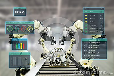 Iot industry 4.0 concept.Smart factory using automation robotic arms with augmented mixed virtual reality technology to show data Stock Photo