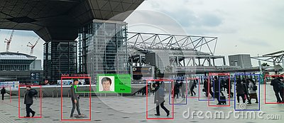 Iot machine learning with human and object recognition which use artificial intelligence to measurements ,analytic and identical c Stock Photo