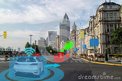 Iot smart automotive Driverless car with artificial intelligence combine with deep learning technology. self driving car can situa Stock Photo