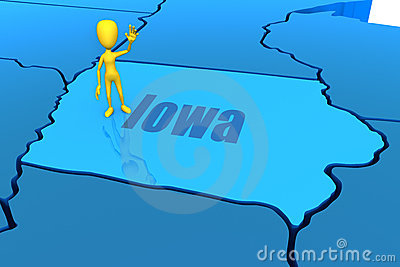 Iowa state outline with yellow stick figure