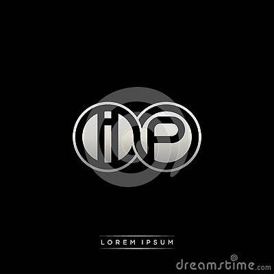 IP initial letter linked circle capital monogram logo modern template silver color version Vector Illustration