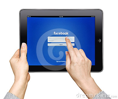 IPad  with facebook app Editorial Image