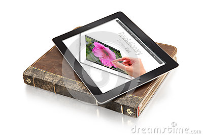 Ipad on leather case - clipping path Editorial Stock Image