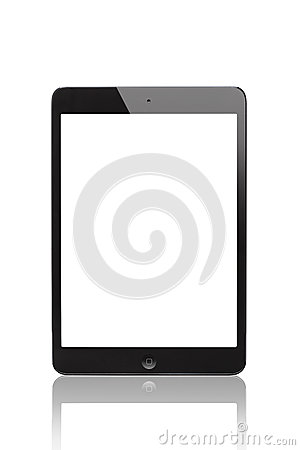 IPad mini Black and Slate whit blank screen (Front Side) Editorial Stock Photo