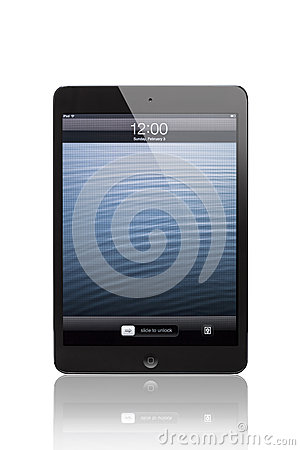 IPad mini Black and Slate whit block screen(Front Side) Editorial Stock Photo