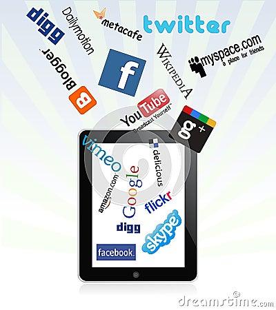 Ipad and social network logos Editorial Stock Photo