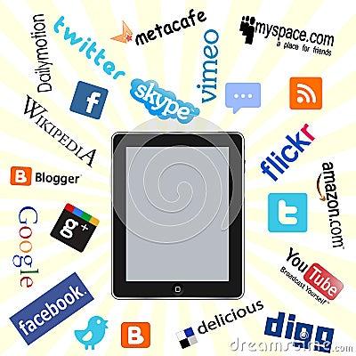 Ipad and social network logos Editorial Photography