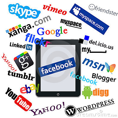 Ipad and social network logos Editorial Stock Image