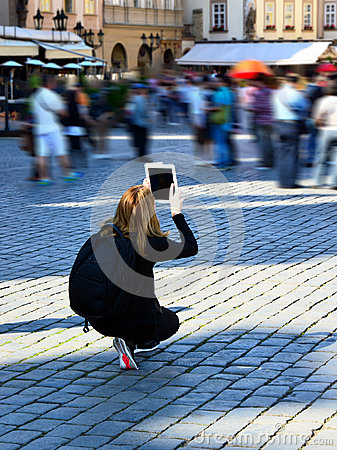 Ipad, travel photos with modern technology, Prague Editorial Photography