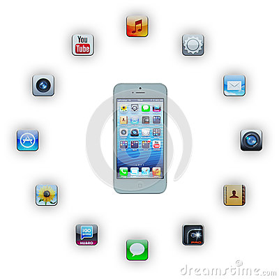 IPhone 5 with applications Editorial Stock Image