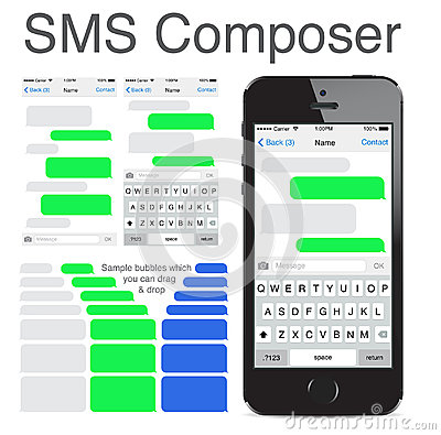 Free Iphone 5s Chatting Sms Template Bubbles Stock Image - 40897261