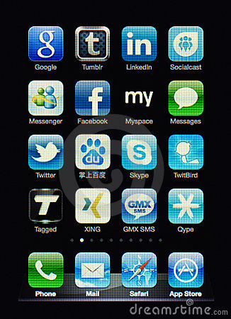 Iphone display with social network apps Editorial Stock Photo