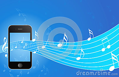IPhone with music background Editorial Stock Photo