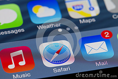 Iphone startskärmen Redaktionell Bild