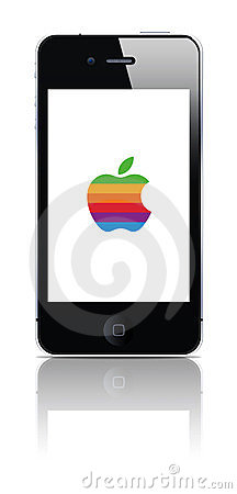 Iphone whit old colored logo Editorial Stock Photo