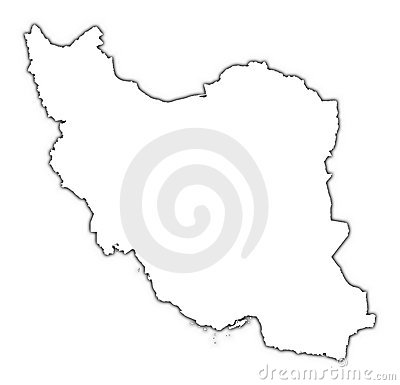 Iran map with shadow