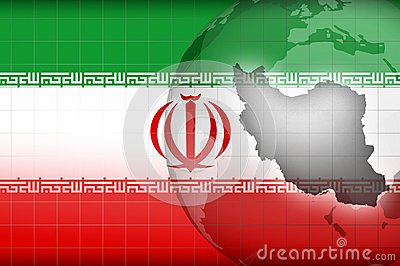Iranian map and flag background