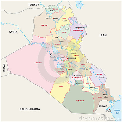 Iraq Administrative Divisions Map Cartoon Vector CartoonDealercom
