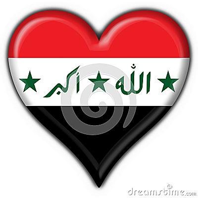 Iraq button flag heart shape