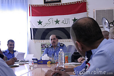 Iraqi District Police Meeting Editorial Image