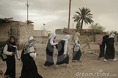 Iraqi Girls walking home from school Editorial Photography