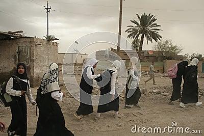 Iraqi Girls walking home from school Editorial Photography