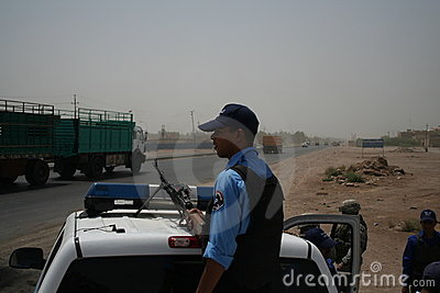 Iraqi Police Checkpoint Overwatch Editorial Stock Photo